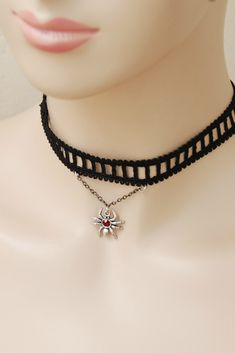 Your place to buy and sell all things handmade Goth Jewelry, Black Jewelry, Etsy Jewelry, Chocker Necklace, Leather Necklace, Gothic Chokers, Halloween Vampire, Costume Necklaces, Badass Style