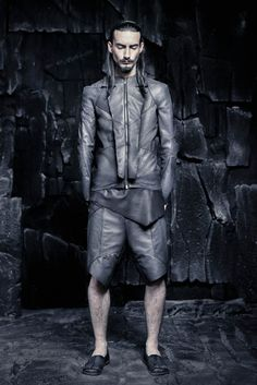 SS16 CRUST OF MOON Queer Fashion, Dark Fashion, Minimal Fashion, I Love Fashion, Gothic Fashion, Mens Fashion, Mens Leather Trousers, Leather Shorts, Dystopian Fashion