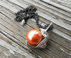 FF7 Materia Necklace, Materia Pendant, Final Fantasy, Final Fantasy Necklace, Orange Materia, final fantasy vii, Final Fantasy Cosplay