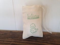 Baby Duck Stamped Baby Shower Cotton Muslin Favor Bags set of 10 by SweetThymes, $12.50