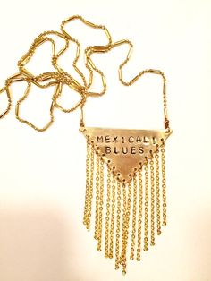 """Stamped Metal Triangle Pendant Necklace with Chain Fringe: Grateful Dead Song - """"Mexicali Blues""""  Available now on GypsiesEnRegalia etsy!"""