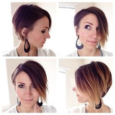 Kilee Nickels (@onelittlemomma) | Ta-da! So much pressure to get a decent first day photo- but I get it! Can't wait to play with this new cut myself and maybe add a little more ombre! #longpixie #shorthairclub #chopped | Intagme - The Best Instagram Widget