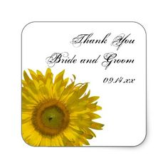#Sunflower #Wedding Thank You #Stickers http://www.zazzle.com/loraseverson* Customize these pretty square Sunflower Wedding Thank You Favor Tag Stickers when you add the personal names of the bride and groom and marriage ceremony date to create your own custom wedding thank you note envelope seals or favor tags. Perfect for your summer or fall sunflower wedding theme. Pair with the matching Sunflower Wedding Invitations, Announcements or Cards to create a coordinated marriage set. #thankyou