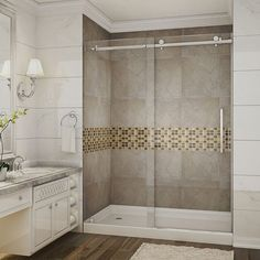 A perfect solution for the tub-to-shower conversion project, the frameless sliding shower door will add elegance, functionality and quality to any space. A modern two-wheeled roller system ensures smooth and easy opening each time.