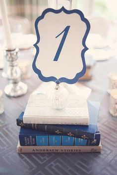 Such a neat idea, using old books with the right color palate as a base for table numbers