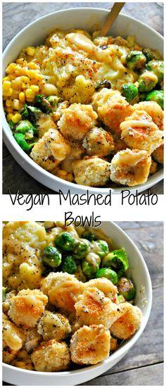 Vegan Mashed Potato Bowls - Rabbit and WolvesYou can find Vegan dinner and more on our website.Vegan Mashed Potato Bowls - Rabbit and Wolves Vegan Mashed Potatoes, Cheesy Potatoes, Baked Potatoes, Vegan Gravy, Menu Dieta, Snacks Sains, Vegetarian Recipes, Healthy Recipes, Vegan Vegetarian