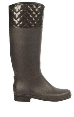 English Quilted Gunmetal Rain Boot