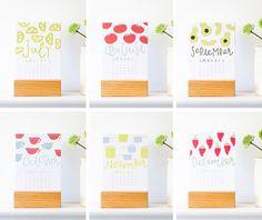 2015 kitchen calendar with wood stand by PinwheelPrintShop on Etsy