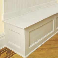 For front room entryway; lift up bench with storage baskets inside to hold scarves, gloves, boots, flipflops; wainscoting on back; hooks to hold coats;