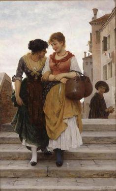 1904 Eugenio (Eugene) de Blaas ( Italian 1843-1932) ~ Flirtation