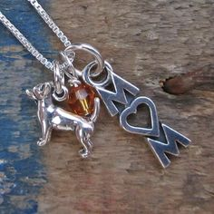 Chihuahua Mom Mini Sterling Silver Necklace, Dog Park Publishing