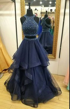 Charming Navy Blue Prom Dress,Two Piece Prom Dresses,Ball Gown Prom Dress,Long Party Dresses, 2 Piece Prom Dress Prom Dress Ball Gown Party Dress Two Piece Prom Dress Blue Party Dress Party Dress Long Prom Dresses Long Prom Dresses Two Piece, Cute Prom Dresses, Prom Dresses 2018, Ball Gowns Prom, Ball Dresses, Pretty Dresses, Evening Dresses, Dress Long, Dress Formal