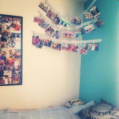 Clothespin Picture Collage :)  #dormroomideas #dormroomcraft #clothespins