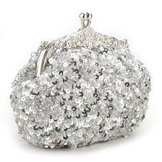 Cute Sequin Clutch, Silver Evening Handbag, Gift Idea #handbag #amazon