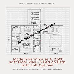 $595. Modern Version A. 3 Bed – 2.5 Bath ~ 2,500 sq. ft. with Loft Options. We sell semi-custom Barndominium floor plans and provide helpful tips to design and build your home whether it is DIY or you are paying a company. #architecture #barndominiums #home #modernbarn #barnhomefloorplans #beautifulbarn #homefloorplan #barnhomedesign #housedesign #barndominiumfloorplans #floorplan #dreambarn #barnhouse #barndominiumliving #barndominiumdesign
