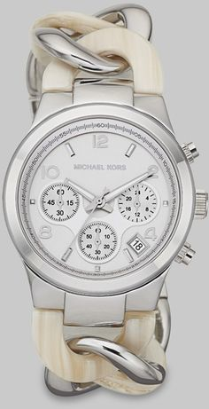 Michael Kors Beige Acetate Stainless Steel Chronograph Watch.