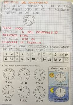"""Orologio"" classe seconda Telling Time, Diagram, Bullet Journal, Coding, Teacher, History, Kids, Maths, Blog"
