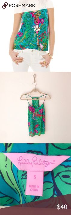 Lilly Pulitzer Dusk Racerback Silk Tank Top Small Lilly Pulitzer Dusk Racerback Silk Tank Top Size Small - Sleeveless spaghetti strap racerback tank with adjustable straps - Fitted at bust, loose at sweep - 100% Silk - Print: Shake Your Tail Feather  - Excellent pre-owned condtion Lilly Pulitzer Tops