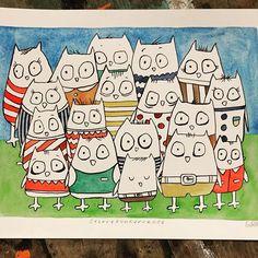 """Stirrekonkurranse"" / ""Staring contest"". #watercolor #watercolorpaper #ink #drawing #doodles #art #kunst #comicart #cows #kuer #stirrekonkurranse #staringcontest  #gunillaholmplatou #birds #gunillasfugler"
