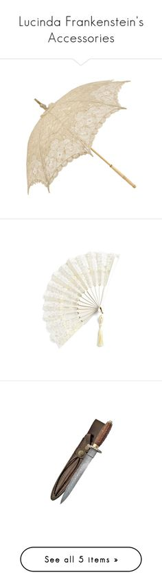 """""""Lucinda Frankenstein's Accessories"""" by nerdbucket ❤ liked on Polyvore featuring accessories, umbrellas, parasols, vintage, fillers, antique umbrella, vintage umbrellas, vintage lace umbrella, lace umbrella and ivory umbrella"""