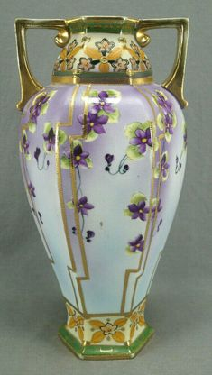 Nippon Hand Painted Purple Clematis Flowers & Gold Beaded 12 1/8 Inch Tall Vase #ImperialNippon #Victorian Purple Clematis, Clematis Flower, Tall Vases, Bud Vases, Sweet Violets, Porcelain Vase, Gold Beads, Pink Flowers, Victorian