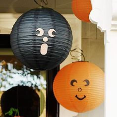 @Lexie Kostolansky let's put faces on the lanterns in the back of the room!! lol DIY Halloween Decorations