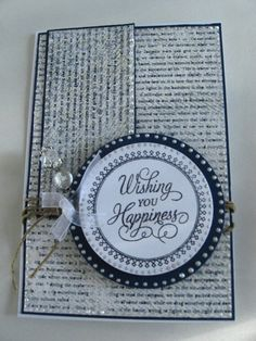 Anniversary or Wedding Greeting Card --For Sale by Croppin Spree https://www.etsy.com/ca/listing/162433397/anniversary-card-greeting-cards-handmade?ref=listing-shop-header-0 #happiness #weddinganniversary #blue #silver #congratulations #wishingyouhappiness #royalblueandwhite #layeredcard #justritestamps #balance #twine #stickpin