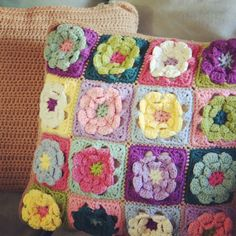 Granny Square flower pillow