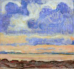 Evening sky on Lake Geneva (View over Lake Geneva) painting by Ferdinand Hodler - Abendhimmel am Genfer See (Blick über den Genfer See) ☁