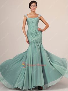 135.00$  Watch now - http://vicuq.justgood.pw/vig/item.php?t=endckz25944 - Tea Green Beaded Cap Sleeve Pleated Bodice Chiffon Prom Dresses With Trains 135.00$