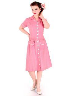 Vintage Seersucker Day Dress Pink Adorable Medium Early 1940s Stylecraft Frocks