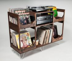 In The Groove: Vinyl Storage And Record Player Stand Vinyl Record Storage Shelf, Record Cabinet, Storage Shelves, Crate Shelves, Record Player Table, Record Stand, Record Wall, Record Player Furniture, Record Crate