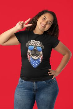 Cool America Bulldog USA flag design with the American flag, perfect birthday gift for breeders, pug dog lovers or pug dog owners for Independence Day, Independence Day or July 4th and Memorial Day Flag Day. If you love the USA and Pug Dog then this cool patriotic dog lover tee is perfect for you. American Staffordshire Terrier Bulldog wearing sunglasses with a USA flag bandana. Funniest gift & Christmas present for America fans. Memorial Day Flag, American Staffordshire, Flag Design, Usa Flag, July 4th, Dog Owners, Branded T Shirts, American Flag, Bandana