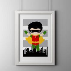 Robin wall art print super hero wall art print by AmysDesignShoppe