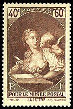 Pour le Musée postal - La lettre - d´après Jean Honoré Fragonard - Timbre de 1939