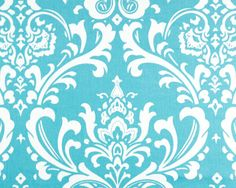 Large Damask Print in Aqua and White
