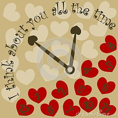 (C) Celia Ascenso - Clock with hearts and message: I think about you all the time.