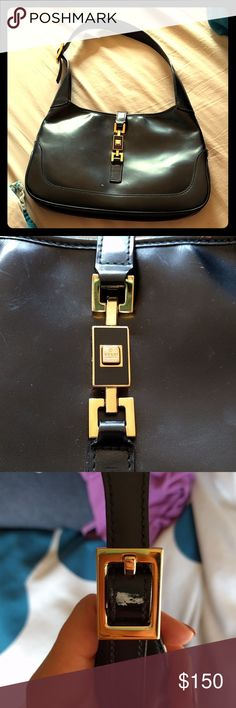 "Black leather vintage Gucci handbag w gold clasp Black medium sized handbag. Leather with gold clasp and gold buckle on strap. This vintage bag shows some signs of wear - some scuffing, two white marks. Interior is in very good shape. 11"" x 7"". Gucci Bags Satchels"