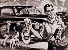 Gleaming the New Car! ~ ca. 1950s