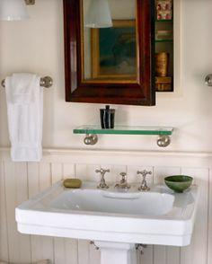 Thin glass shelf above a pedastel sink with medicine cabinet mirror Simple Bathroom, Bathroom Ideas, Bathroom Inspo, Bath Ideas, Bathroom Renovations, Remodled Bathrooms, Bathroom Sinks, Bathroom Cabinets, Bathroom Designs