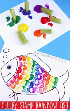 Celery Stamping Rainbow Fish Craft for Kids. – Celery Stamping Rainbow Fish Craft for Kids. – Related posts: Celery Stamping Rainbow Fish Craft for Kids – Crafty Morning Rainbow Fish Craft Using Celery as a Stamp – Great craft for kids! Rainbow Fish Activities, Rainbow Fish Crafts, Ocean Crafts, Art Activities For Kids, Rainbow Art, Art For Kids, Fish Crafts Kids, Fish Games For Kids, Summer Activities