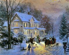 I think this one is my favorite winter scene done by Thomas Kinkade. Absolutely Brilliant!