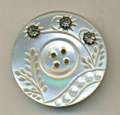 Lrg. Antique Carved Pearl Button w/Rhinestones