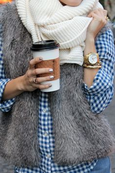 fall fashion fashion scarf fur plaid fashion photography metallic nails