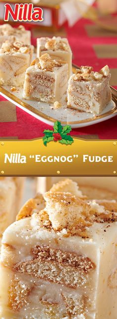 Who doesn't love those wonderful little vanilla wafers? Take a look at these tasty vanilla wafer desserts! Christmas Fudge, Christmas Baking, Christmas Sweets, Christmas Cookies, Eggnog Fudge, Eggnog Recipe, Diet Desserts, Delicious Desserts, Easter Desserts