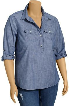 Old Navy Women's Plus Chambray Pullover Shirts on shopstyle.com
