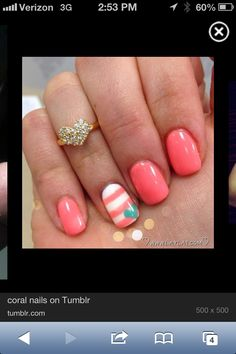 Coral nails with accent