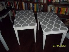 by Suzan: End table makeovers Refurbished Furniture, Repurposed Furniture, Custom Furniture, Furniture Makeover, Vintage Furniture, Painted Furniture, Furniture Refinishing, Furniture Projects, Diy Projects