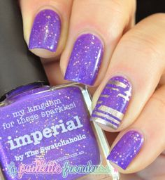 Picture polish imperial and metallic mush striping tape mani :)  #nails #nailart http://lapaillettefrondeuse.blogspot.be Bon anniversaire @Elle_Oh_Die  !!!!!