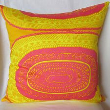 "Marimekko pillow cover in Noitarumpu fabric from Finland, 18 x 18"""